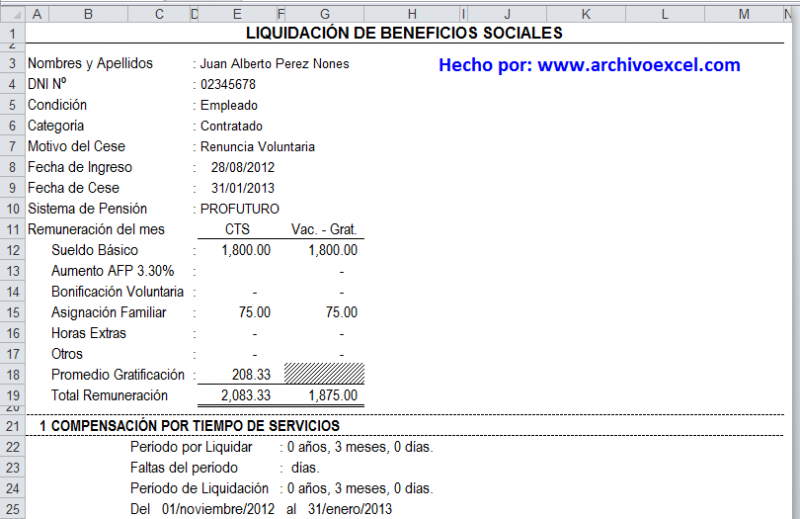 LIQUIDACIÓN DE BENEFICIOS SOCIALES | Archivo Excel