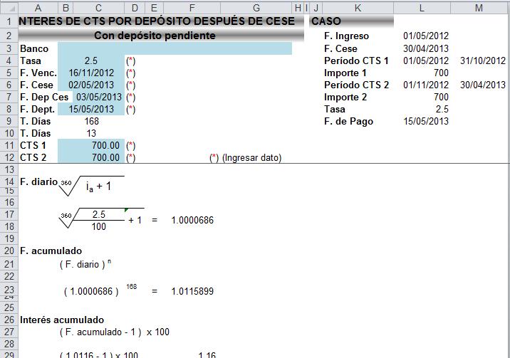 CÁLCULO DE INTERÉS DE CTS | Archivo Excel