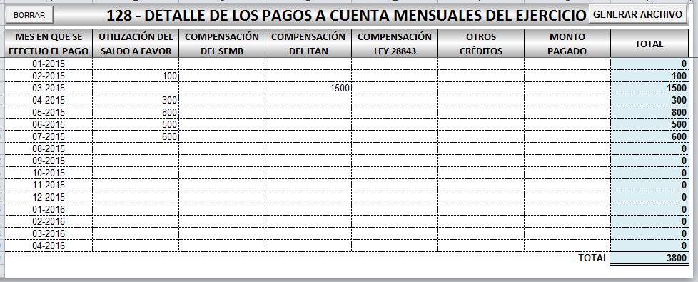 PDT 0704 Renta Anual 2016   Archivo Excel