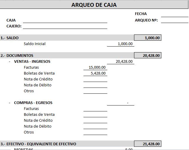 ARQUEO DE CAJA | Archivo Excel
