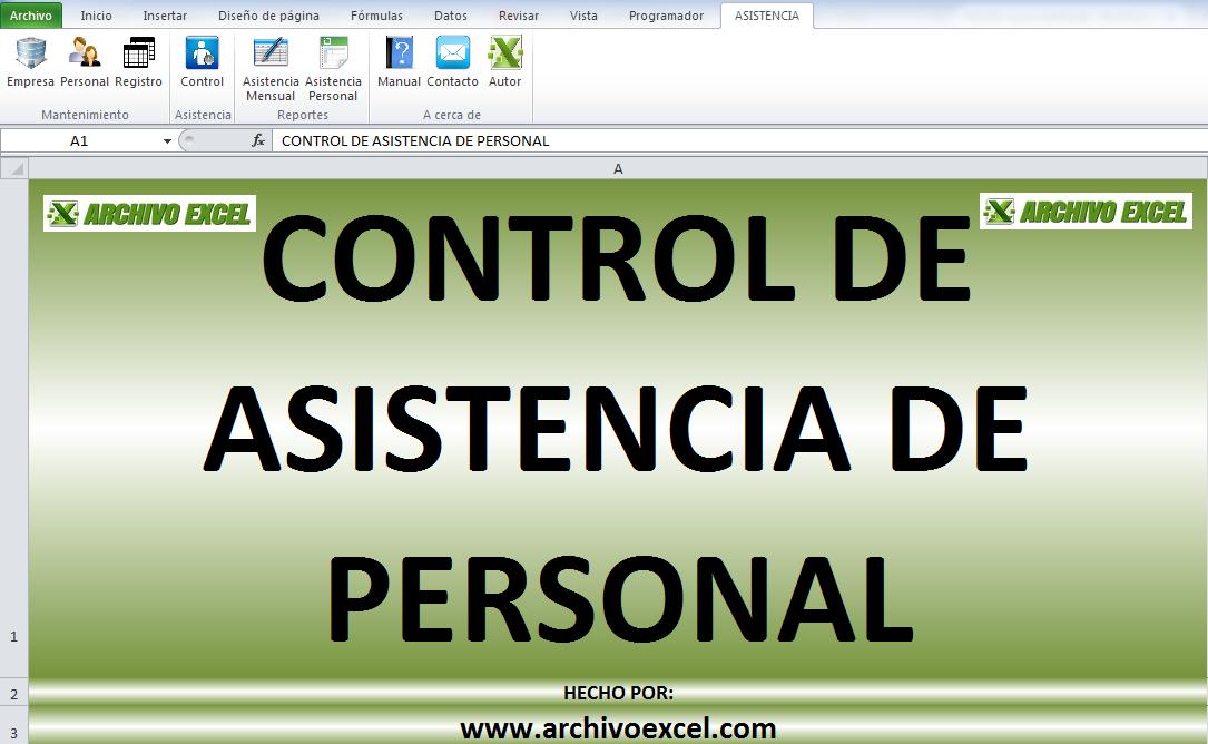 CONTROL DE ASISTENCIA – APLICATIVO EN EXCEL | Archivo Excel