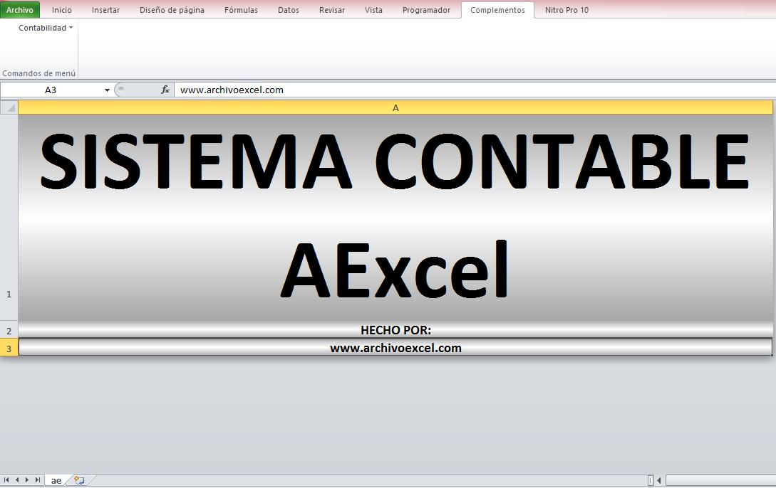 SISTEMA CONTABLE AEXCEL (VERSIÓN BÁSICA – GRATUITA) – APLICATIVO EN ...
