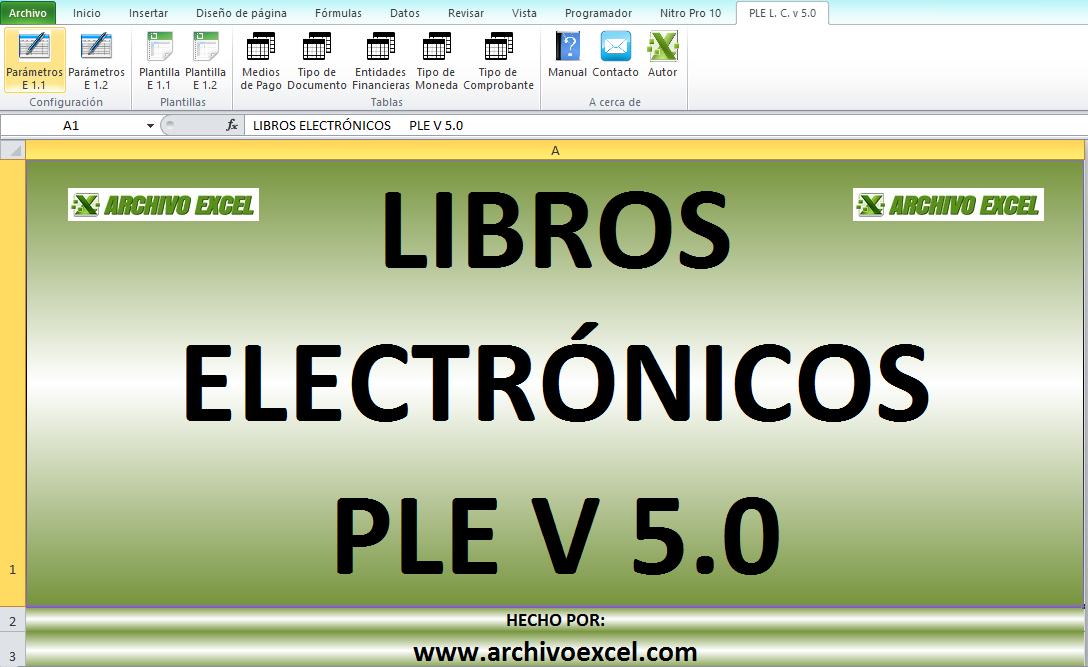 PLE CAJA Y BANCOS (LIBRO ELECTRÓNICO SUNAT) – PLANTILLA EN EXCEL ...
