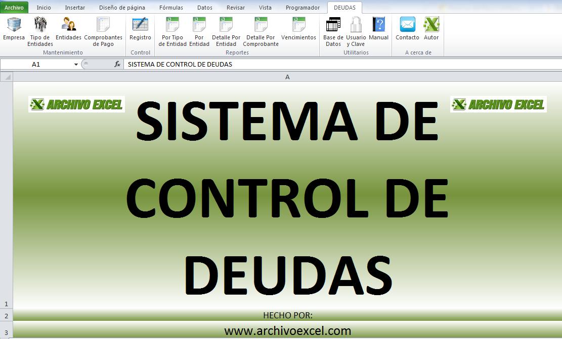 CONTROL DE DEUDAS – APLICATIVO EN EXCEL | Archivo Excel